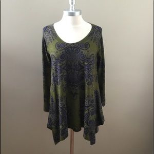 New Nally & Millie Green/Blue Pattern Tunic Top